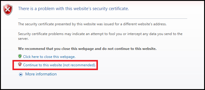 Internet Explorer certificate issue