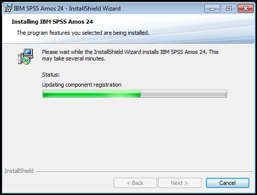 SPSS AMOS installation progress