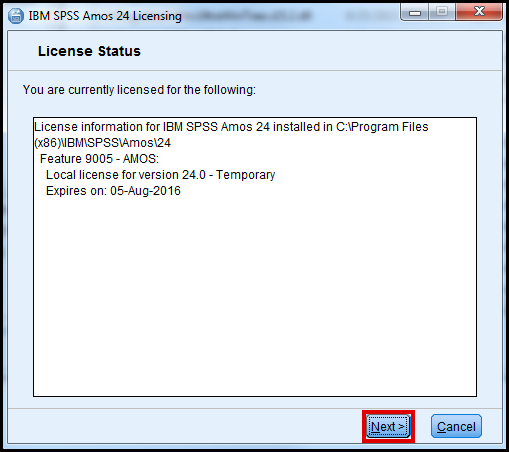 SPSS AMOS license status