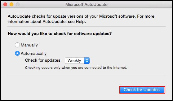 Microsoft AutoUpdate screen