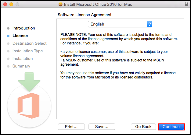 Software License screen
