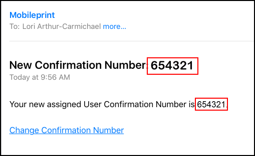 New Confirmation Number email