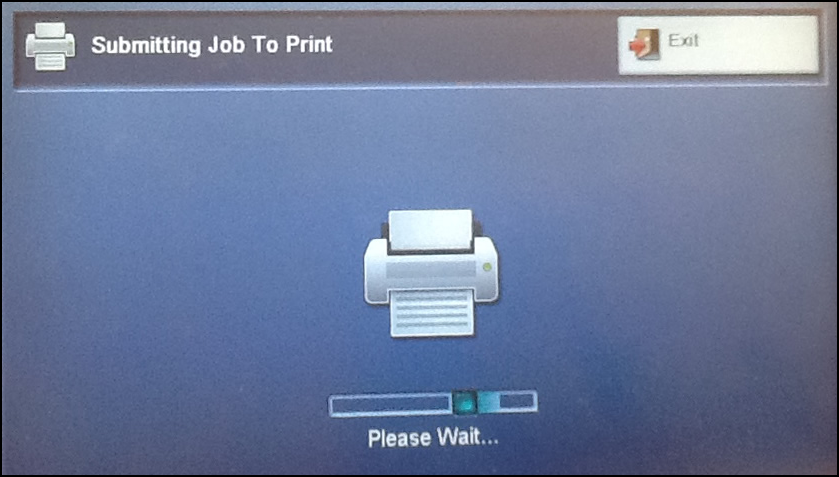 Xerox screen submitting job