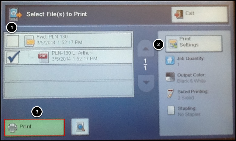 Select files to print