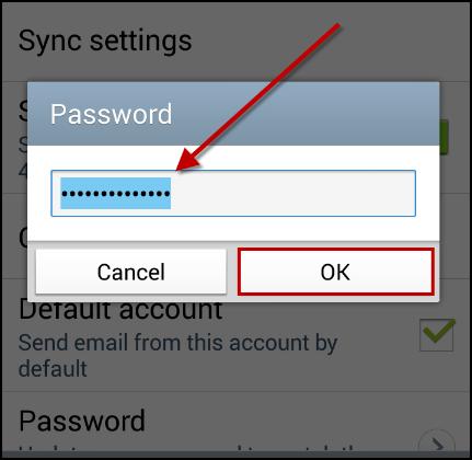 Password pop-up window