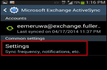MIcrosoft Exchange ActiveSync menu