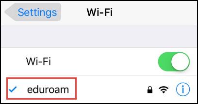 Wi-Fi connected to eduroam