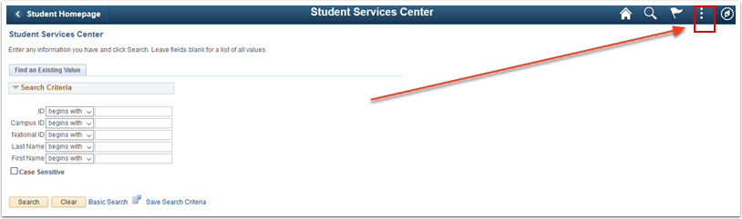 Student Services Center search page