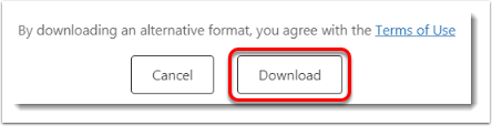 Download button is selected.