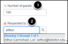 Number of guests and Requested by