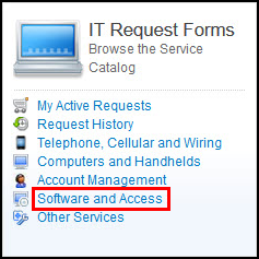 Software and Access menu