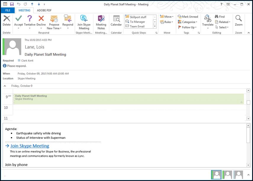 New Skype meeting notification