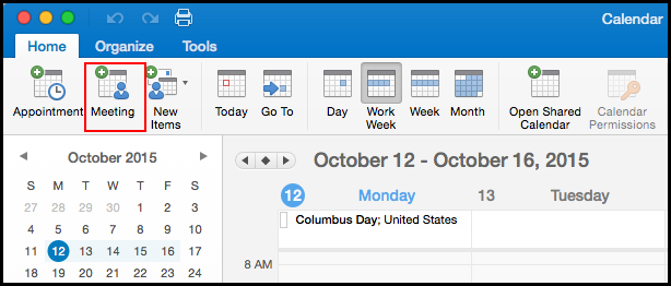 Outlook 2016 calendar screen