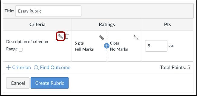 Editar descripción de criterios