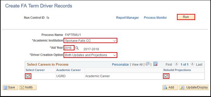 Create FA Term Driver Records page