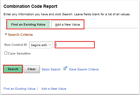 Combo Code Report search page