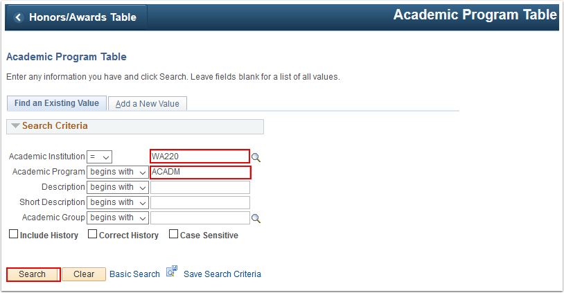 Academic Program Table Find an Existing Value tab