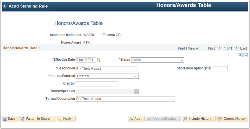 Honors Awards Table page