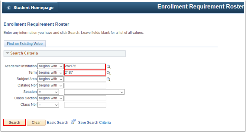 Enrollment Requirement Roster search page