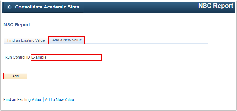 NSC Report Add a New Value tab