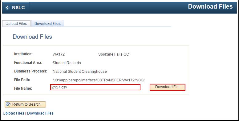 Download Files tab