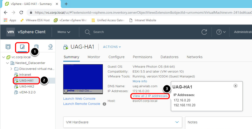 Validating UAG Appliance status