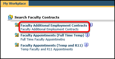Search Faculty Contracts screen