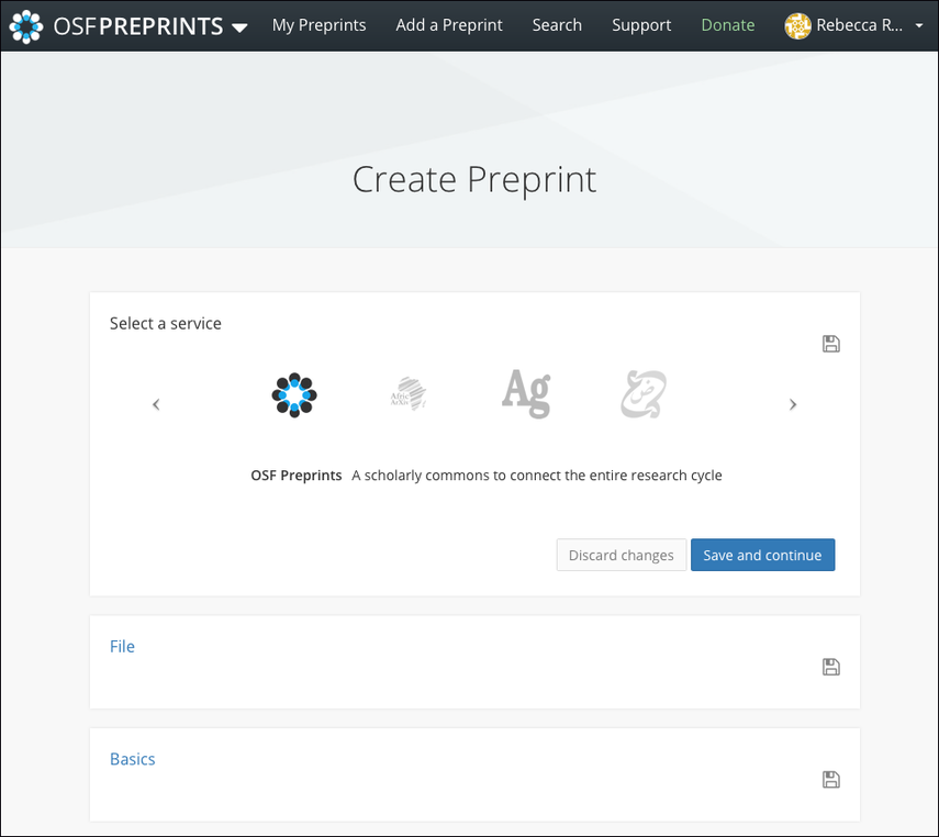 "The ""Add Preprint"" Page"