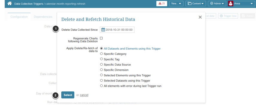Specify data to be collected and for which Elements
