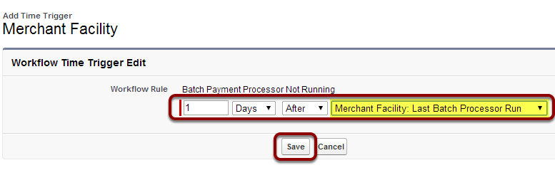 Set Time Trigger to '1 day after Last Batch Processor Run' and 'Save'