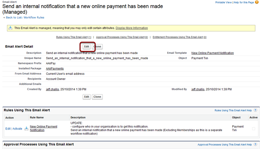 Edit the Email Alert - Send Send an internal notification that a new online payment has been made