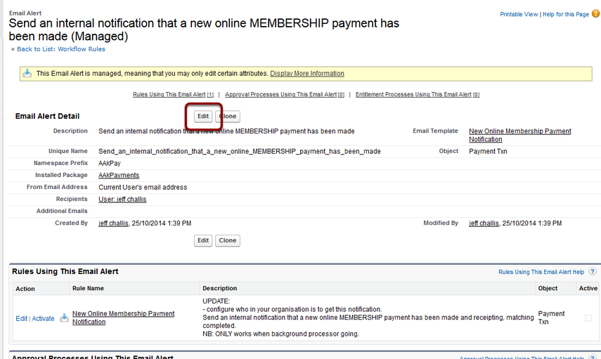 Edit the Email Alert - Send an internal notification that a new online MEMBERSHIP payment has been made