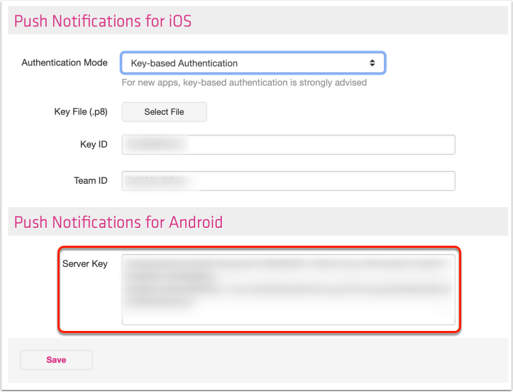 8. Enter API key on Twixl Distribution Platform