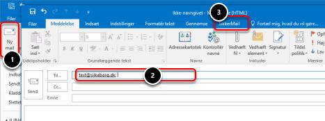"""Indsæt modtagernes email adresser i """"Til""""-feltet"""