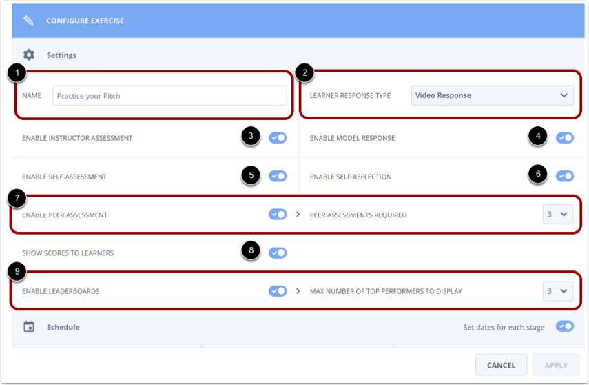 View Configure Exercise options