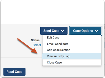 view activity log under case options