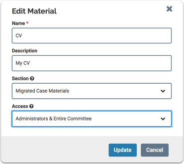 access field on edit materials window