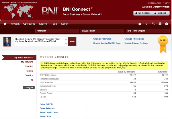 Success!  You will be logged directly into BNI Connect with your new password!