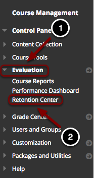 Image of the Blackboard Control Panel with the following annotations: 1.Click on Evaluation.2.Select Retention Center.