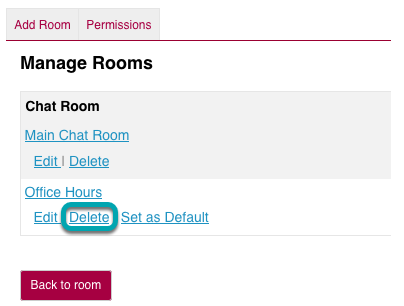 Select the Delete link for the room you want to remove.