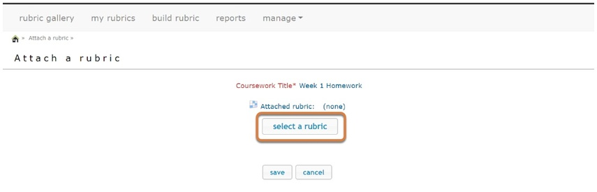 rCampus select a rubric