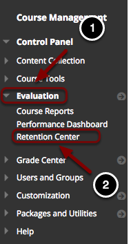 Image of the Blackboard Control Panel with the following annotations: 1.Click on Evaluation.2.Select Retention Center