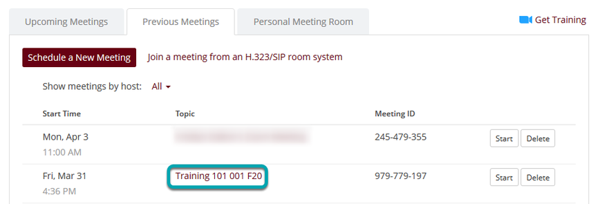 The title of your course will be the title of the meeting room.