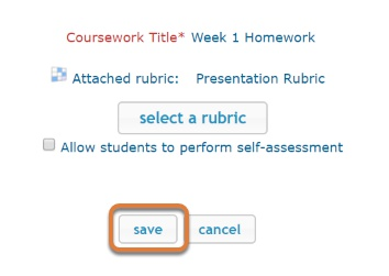 iRubric save button