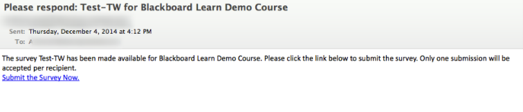 Image of an enterprise survey email message.