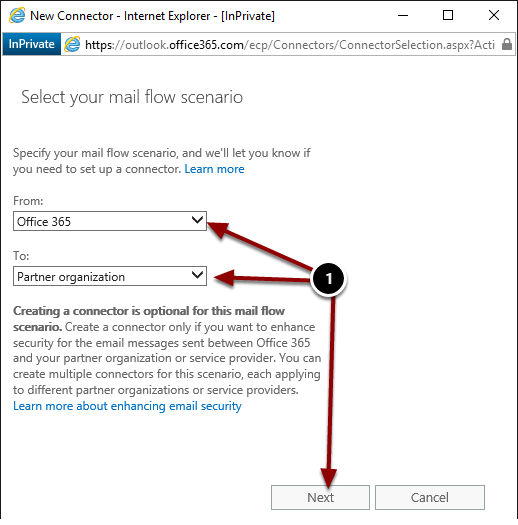 Selecting the mail flow scenario