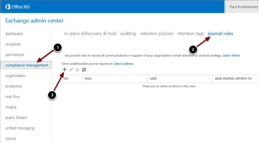 Creating the Office 365 journal rule