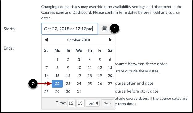 Set Course Start Date