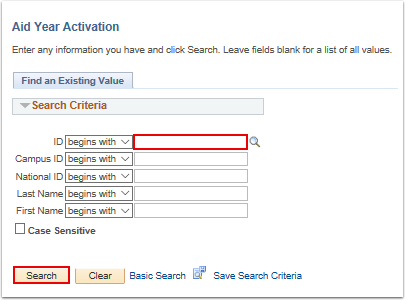 Aid Year Activation search page