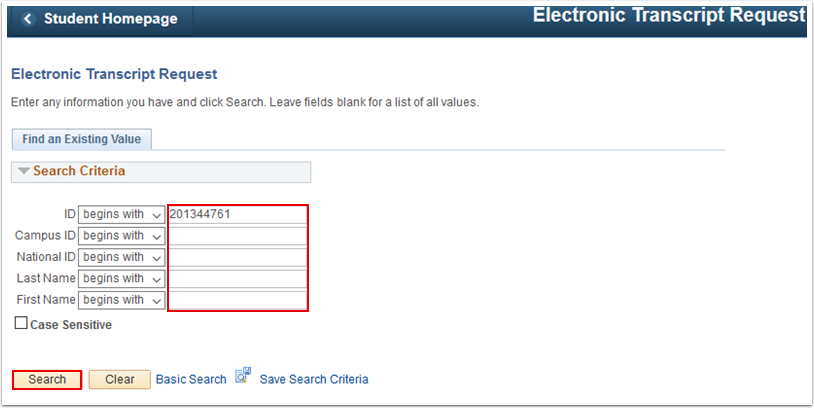 Electronic Transcript Request search page